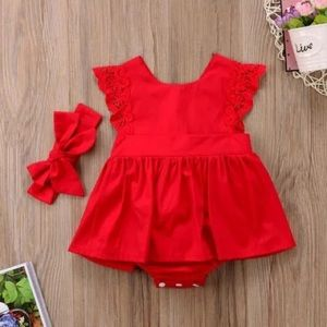 Other - 🆕Baby Girl Red Dress+Diaper Cover with Hairbow